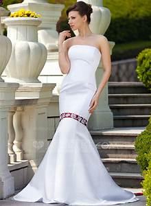 trumpet mermaid strapless watteau train satin wedding With strapless mermaid satin wedding dress