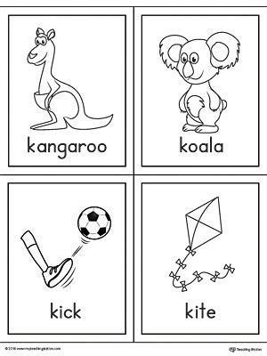 color beginning with k letter k words and pictures printable cards kangaroo