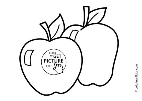 Two Apple Fruits Coloring Pages Simple For Kids, Printable