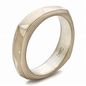 men39s sandblasted mokume square band 100525 With square mens wedding rings