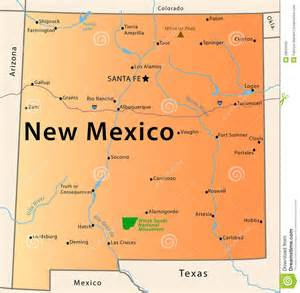 New Mexico State Map with Cities