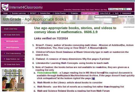 age  books math processes sixth  grade