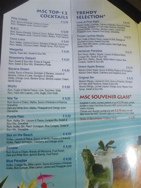 msc cruises bar menu msc cruises