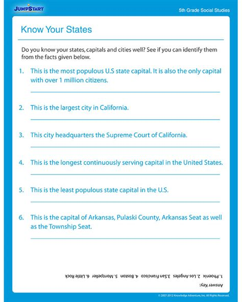 know your states printable worksheets 5th grade jumpstart