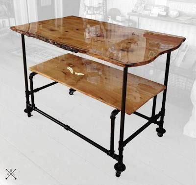 Kitchen Cart Pipe by Live Edge Kitchen Cart Pipe Repurpose Pipe