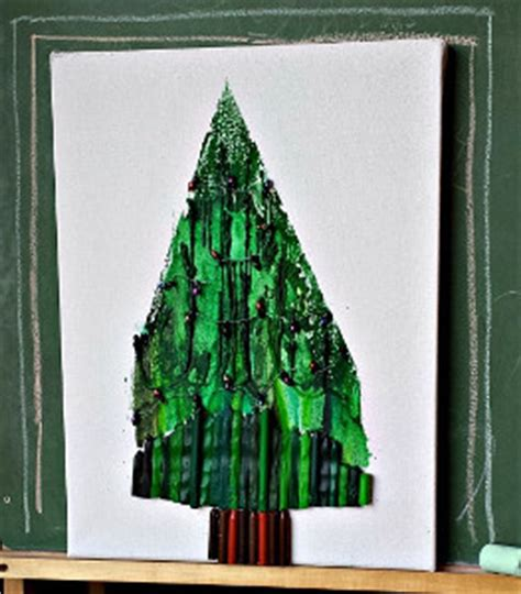 christmas tree melted crayon art allfreekidscraftscom