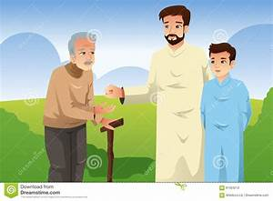 Muslim Father And Son Giving Money To An Old Man Stock ...
