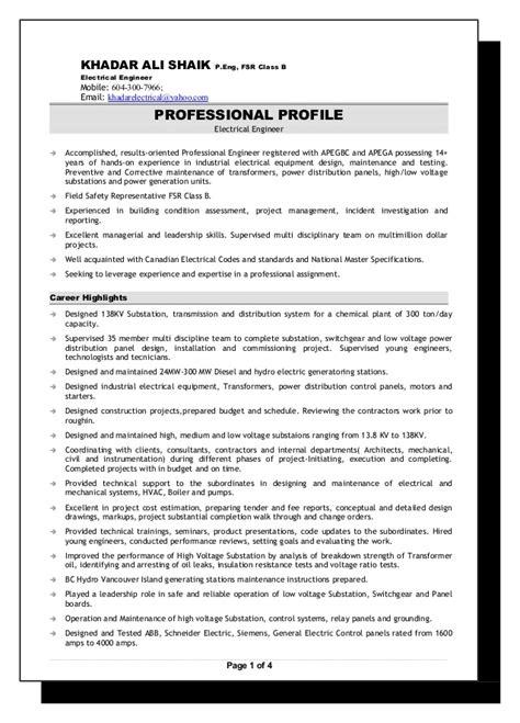Senior Electrical Engineer Resume Format by Senior Electrical Engineer Resume 2016