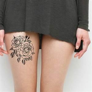 Rosen Tattoo Klein : kleine tattoo ideen tattoos auf oberschenkel von einer frau rosen mit kleinen bl ttern kleid ~ Frokenaadalensverden.com Haus und Dekorationen