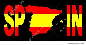 Spain Text With Map On Flag Stock Illustration I1740249 At