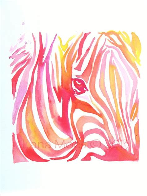 abstract coral pink original watercolor painting abstract zebra modern home decor abstract