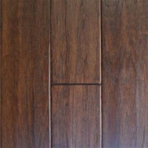 engineered hardwood flooring home depot millstead hand scraped hickory cocoa 3 8 in thick x 4 1 4 in x random length engineered click