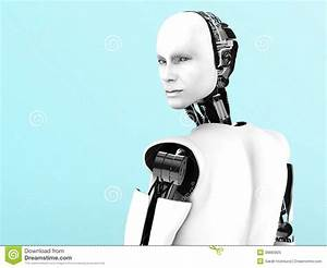 Male robot back view nr 2. stock illustration. Image of ...