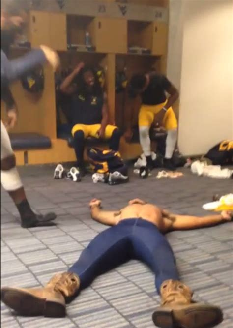 west virginia players wrestle wwe style  locker room