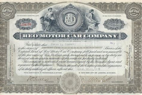 Embroker helps you get certificates of insurance to prove to potential business partners and customers that your business is properly covered with the right insurance and that it is. REO Motor Car Company stock certificate 1916