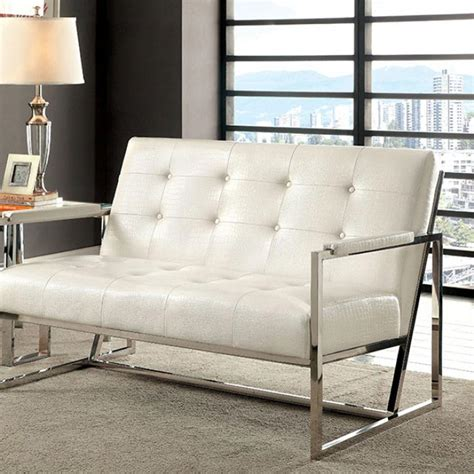 White Faux Leather Loveseat by White Crocodile Faux Leather Loveseat