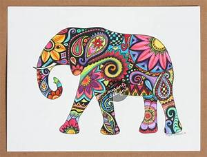 Original Watercolor Ink Elephant Painting Art by ...