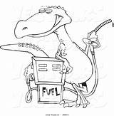 Cartoon Dinosaur Gas Coloring Pump Vector Station Outline Standing Pages Printable Getcolorings Getdrawings Leishman Ron sketch template