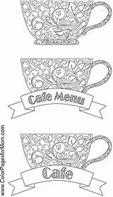 Coloring Coffee Pages Tea Adult Cafe Adults Wine Colorpagesformom Books Printable Colouring Sheets Cup Cups Menu Doodles Kawaii Colour Advanced sketch template