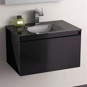 Meuble Vasque 60 : pack promo meuble glass 60 noir robinet armoirette vidage ~ Teatrodelosmanantiales.com Idées de Décoration