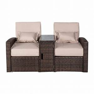 Rattan Lounge Set : 3pc patio rattan wicker lounge outdoor furniture chaise sofa set chair table ebay ~ Orissabook.com Haus und Dekorationen
