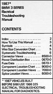 1987 Bmw 325 Electrical Troubleshooting Manual 325i 325e