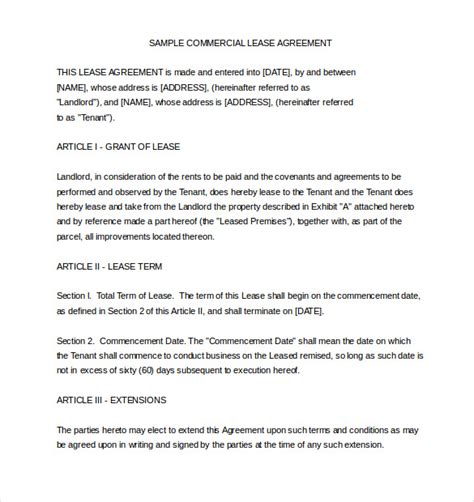 commercial lease agreement template word shatterlioninfo