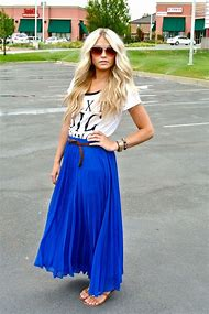 Images of Long Blue Maxi Skirt Outfit