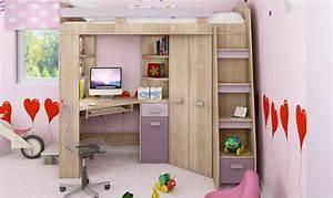 Lit en hauteur combin avec bureau, armoire et rangement intgr