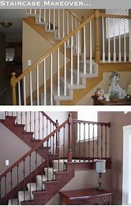 The yellow cape cod staircase makeoverbefore and after for Amazing staircase makeover ideas