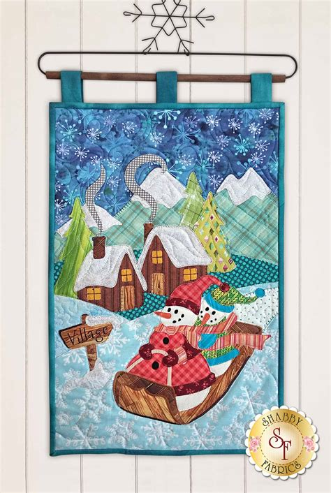 shabby fabrics wall hanging snowman village series wall hanging kit pre fused laser cut