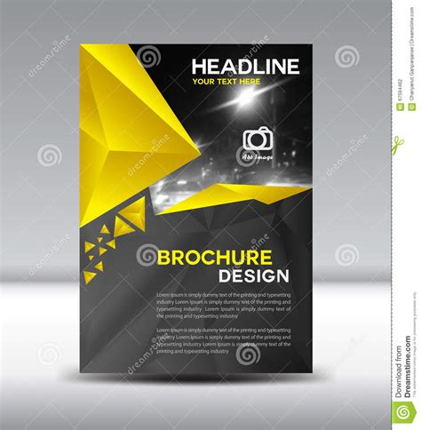 yellow  black vector brochure flyer  cover template