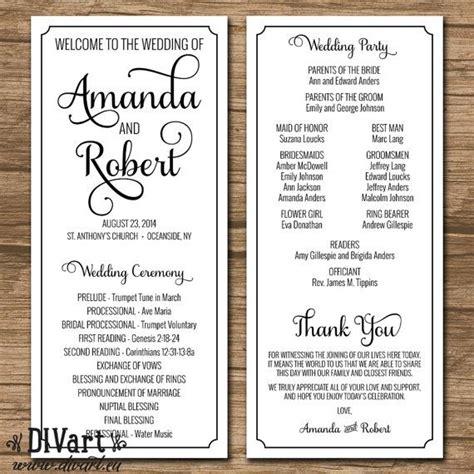 wedding program ceremony program printable or printed