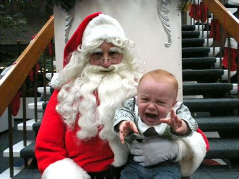 funny santa pictures  kids  scared  santa