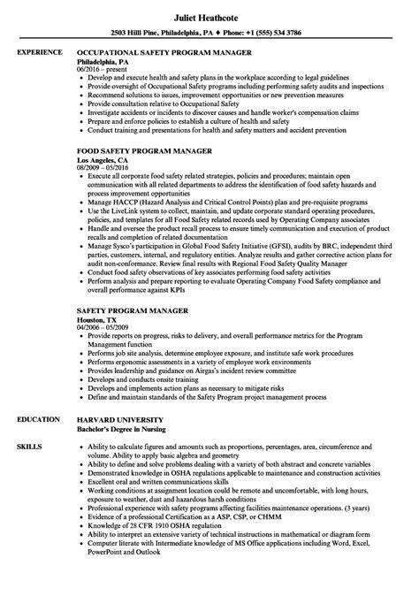 Safety Manager Resume by Safety Program Manager Resume Sles Velvet