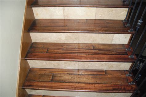 wood treads with tile risers