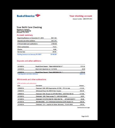bank statement bank america template income earnings