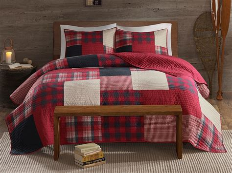 sunset red buffalo cabin plaid quilt set