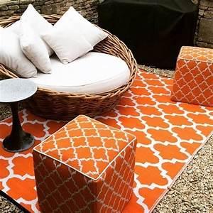 Tapis Intérieur Extérieur : tapis int rieur ext rieur tangier orange et blanc 150 x 90 cm ~ Teatrodelosmanantiales.com Idées de Décoration