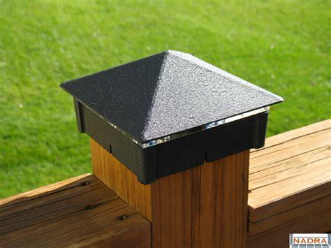 Deck Post Caps 6x6 by Lighting Moonlight Decks Smooth Black Wrinkle Deck