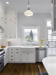 gray kitchen walls with white cabinets - Kitchen and Decor