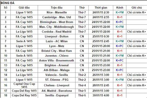 lịch ph 225 t s 243 ng v 224 tường thuật trực tiếp b 243 ng đ 225 tr 234 n k