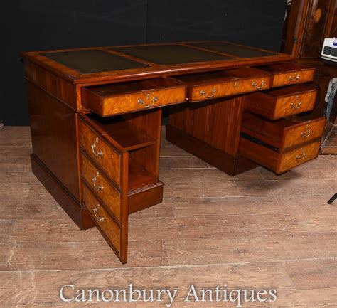 bureau writing desk regency walnut knee pedestal desk writing table bureau