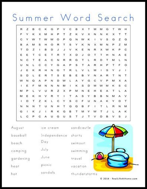summer themed word search printable word search summer