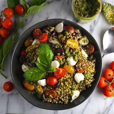 pesto couscous salad  mozzarella  tomatoes nerds