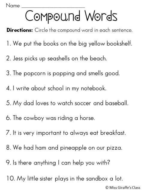 best of 3rd grade compound words worksheets compound words worksheets sentences