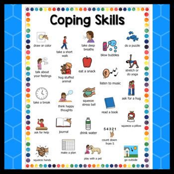 coping skills calm  chart  pictures  created