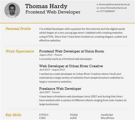 Resume Creator Mobile by 25 Free Html Resume Templates For Your Successful