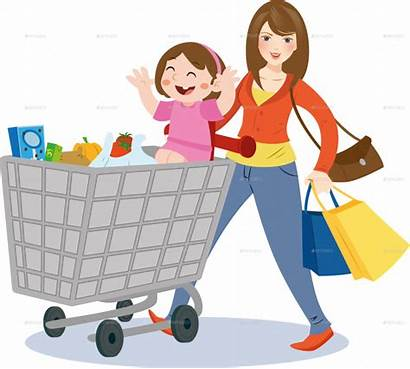 Clipart Shopping Mom Mother Clipground Cartoon