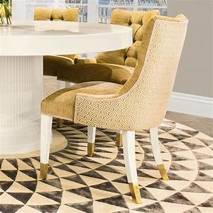 High, End, Modern, Italian, Upholstered, Gold, Dining, Chair